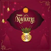 Creative kalash and illustration of goddess durga for happy navratri vector
