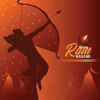 Indian festival happy ram navami celebration greeting card vector