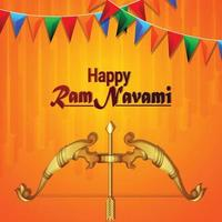 Happy ram navami vector illustration with golden bow and arrow