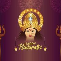 Indian festival happy navratri celebration greeting card vector