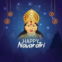 Navratri indian festival celebration greeting card and background vector