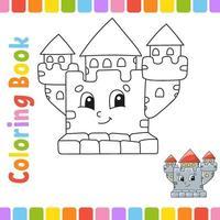 libro para colorear para niños. carácter alegre. ilustración vectorial. estilo de dibujos animados lindo. página de fantasía para niños. silueta de contorno negro. aislado sobre fondo blanco. vector
