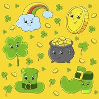 Set of stickers with cute cartoon characters. St. Patrick's Day. Hand drawn. Colorful pack. Vector illustration. Patch badges collection. Label design elements. For daily planner, diary, organizer.