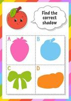 Find the correct shadow. Education developing worksheet. Matching game for kids. Color activity page. Puzzle for children. Cute character. Vector illustration. Cartoon style.