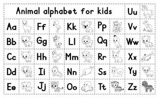 English alphabet with cartoon characters. Coloring page. Vector set. Learn ABC. Lowercase and uppercase letters.