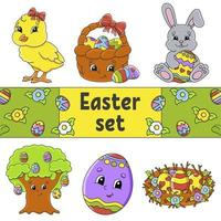 Set of cute cartoon characters. Easter clipart. Hand drawn. Colorful pack. Vector illustration. Patch badges collection. Label design elements. For daily planner, diary, organizer.