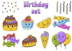 Set of stickers with cute cartoon characters. Happy birthday theme. Hand drawn. Colorful pack. Vector illustration. Patch badges collection. Label design elements. For daily planner, diary, organizer.