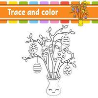 Trace and color. Coloring page for kids. Handwriting practice. Education developing worksheet. Activity page. Game for toddlers. Isolated vector illustration. Cartoon style. Easter theme.
