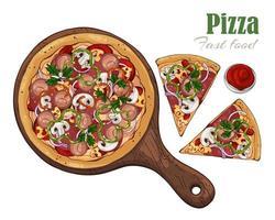 vector. pizza de tema de comida rápida en un tablero. vector