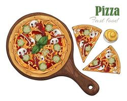 Vector. Fast food theme pizza on a board. vector