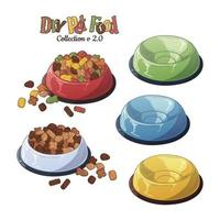 Vector bowls with dry food for dogs and cats.