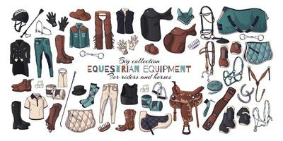 Vector illustrations on the equestrian equipment theme.