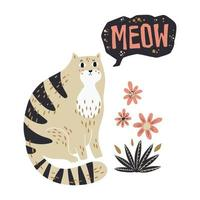Vector flat hand drawn illustrations. Cute cat with flowers.