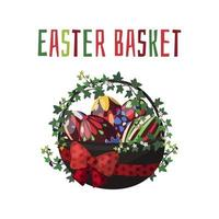 Vector illustrations on the Easter theme basket with chocolate colored eggs and spring flowers.