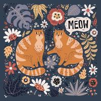 Vector flat hand drawn illustrations. Cute cats with plants and flowers.