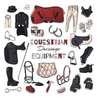 Vector illustrations on the equestrian equipment theme. Dressage.