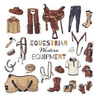 Vector illustrations on the equestrian equipment theme. Western.
