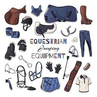 Vector illustrations on the equestrian equipment theme. Jumping.