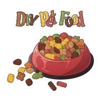 cuencos vectoriales con comida seca para perros y gatos. vector