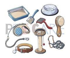 Accessories for care cats and dogs. Vector. vector