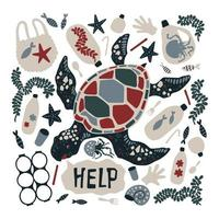 Vector flat hand drawn turtle surrounded by marine litter and waste.