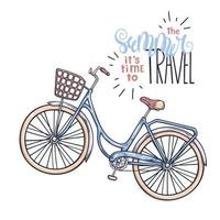 Vector bicycle in vintage style. Lettering the summer it is time to travel.