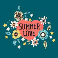 Lettering Summer Love - surrounded by tropical plants and flowers. Vector. vector