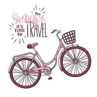Vector bicycle in vintage style. Letteringthe summer it is time to travel.