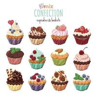 Sweet cupcakes with cream, decorated with berries and chocolate. vector