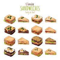 Fast food, sandwich set vector