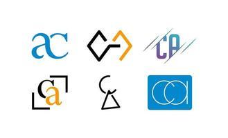 Ilustración de vector de plantilla de logotipo inicial ac, ca, a, c