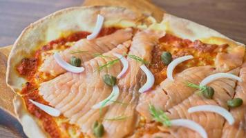 Smoked Salmon Pizza on Wood Board