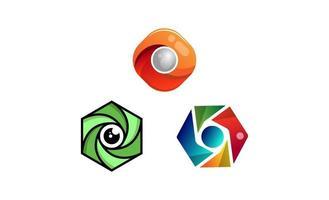 Ilustración de vector de logotipo de lente de foto de cámara