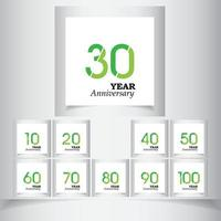 Set Year Anniversary Green Color Vector Template Design Illustration