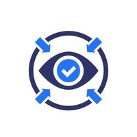 Focus icon with eye, vector