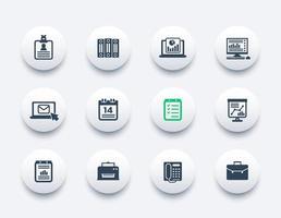 conjunto de iconos de oficina, documentos, informes, carpetas, correo, horario y fax vector