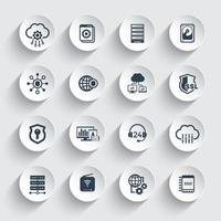 Hosting, servers, network and data storage icons set vector
