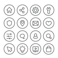 Basic line icons for web, vector