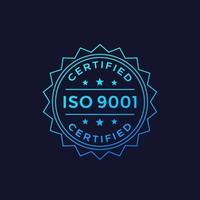 diseño de placa iso 9001, etiqueta vectorial vector