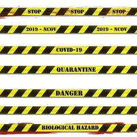 Restrictive stripes with the words quarantine, covid-19, danger and stop with shadow and blood splatter on a white background. vector