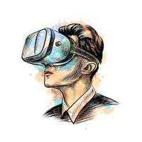 Man wearing virtual reality headset from a splash of watercolor, hand drawn sketch. Vector illustration of paints
