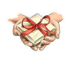 Female hands holding a small gift wrapped with red ribbon from a splash of watercolor, hand drawn sketch. Vector illustration of paints