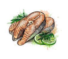 trozos de pescado rojo y limón de un toque de acuarela, boceto dibujado a mano. ilustración vectorial de pinturas vector