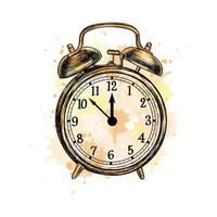 Alarm clock analog classic vintage style from a splash of watercolor, hand drawn sketch. Vector illustration of paints