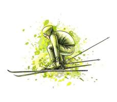 Abstract biathlete from a splash of watercolor, hand drawn sketch. Winter sport. Vector illustration of paints