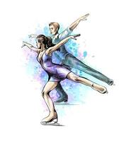 Abstract winter sport Figure skating young couple skaters from splash of watercolors. Winter sport. Vector illustration of paints