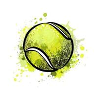 Tennis ball from a splash of watercolor, hand drawn sketch. Vector illustration of paints
