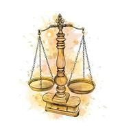 Vintage old scale, Law scales from a splash of watercolor, hand drawn sketch. Symbol of justice. Vector illustration of paints