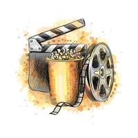 Cinematograph concept banner design template with popcorn, film reel, film tape from a splash of watercolor, hand drawn sketch. Vector illustration of paints