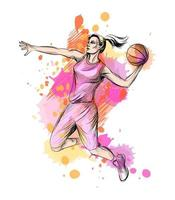 Abstract basketball player with ball from a splash of watercolor, hand drawn sketch. Vector illustration of paints